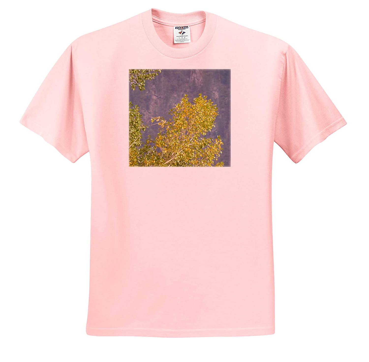 A Yellow Tree in Fall with The Mountain as a Background Fall Tree on Mountain Backdrop 3dRose Jos Fauxtographee T-Shirts