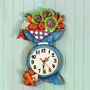 YLCJ American Rural Alarm Clock Salon Maison Pastoral Care at The Scale of A Resin Plant Silent Wall Alarm Clock