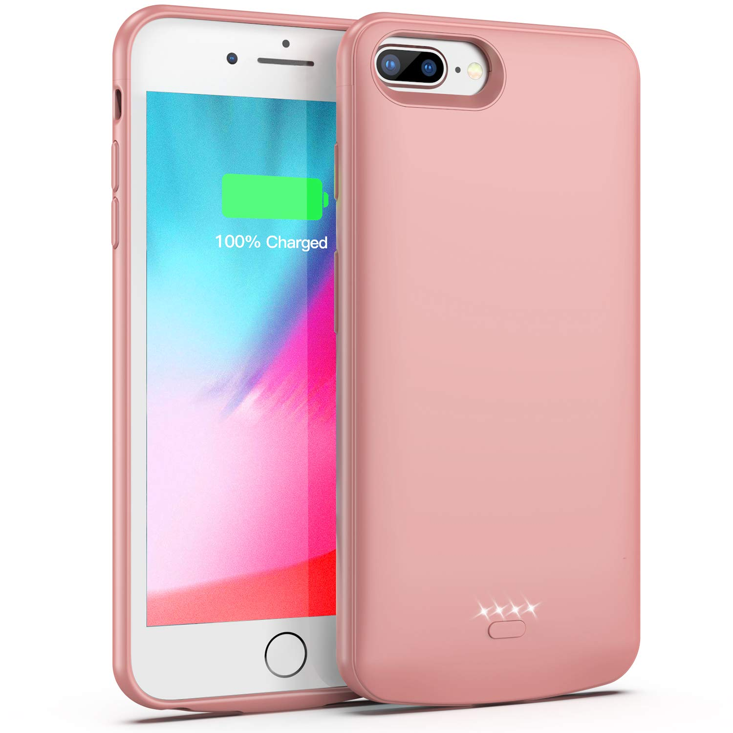 Battery Case for iPhone 7 Plus/8 Plus/6 Plus/6s Plus,5500mAh Portable Protective Charging Case Compatible with iPhone 7 Plus/8 Plus/6 Plus/6s Plus (5.5 inch) Rechargeable Extended Battery (Rose Gold) by Lonlif