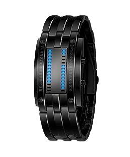 Sannysis® Lujo hombres de acero inoxidable Fecha reloj del deporte LED Digital Negro