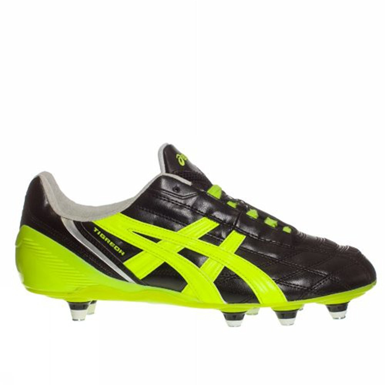 ASICS , Herren Fußballschuhe Schwarz schwarz Neon Yellow Silver (9007) 40.5