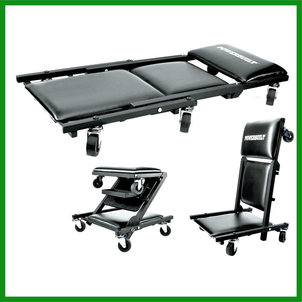 Floor Folding Platform Creeper Roller Seat Brake Stool Ninyl Cushion 40'' Long 3 in 1 - House Deals