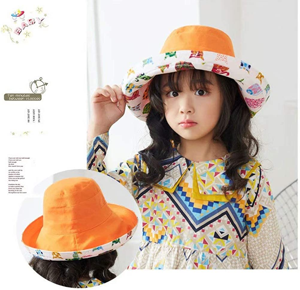 Lalago Girls Sun Hat Double Sides Wide Brim Sun Protection Hat Summer Foldable Cap