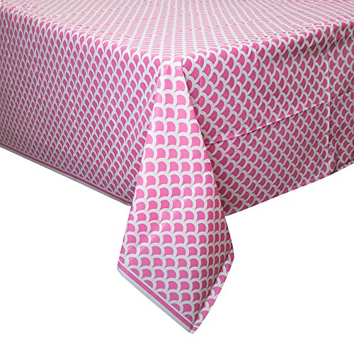 """Hot Pink & White Scallop Print Plastic Tablecloth, 108"""" x 54"""""""