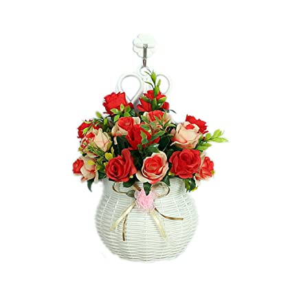 Amazon artificial silk flower arrangement with wall hanging artificial silk flower arrangement with wall hanging plastic vase shirley rose for home office party table mightylinksfo