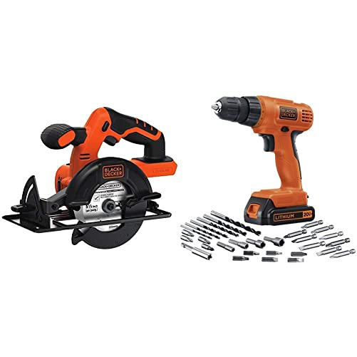 BLACK DECKER BDCCS20B 20-volt Max Circular Saw Bare Tool, 5-1 2-Inch with BLACK DECKER LD120VA 20-Volt Max Lithium Drill Driver with 30 Accessories