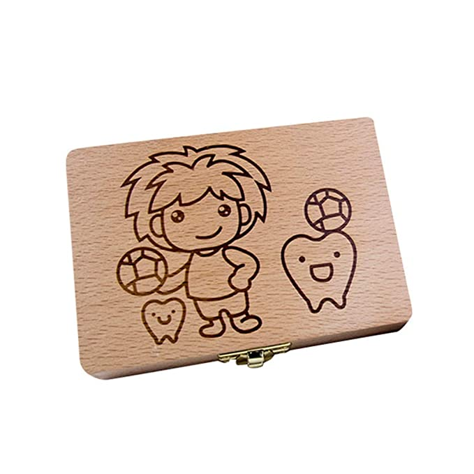 Angmart Baby Tooth Box Personalized Tooth Holder to Keep The Childhood Memory Cute Children Tooth Container Wooden Kids Keepsake Organizer Gift for Baby Teeth