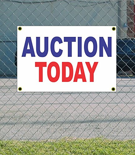 Cheap AUCTION TODAY 2x3 Red White & Blue Banner sign free shipping