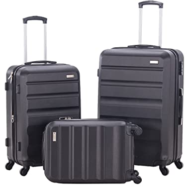 3 Pieces Spinner Luggage Sets Expandable Suitcase Sets Hardshell Lightweight ABS Travel Luggage Trolley Cases(3 Piece Set, 28inch + 24inch + 20inch Cabin Size Carry On) (BLACK)
