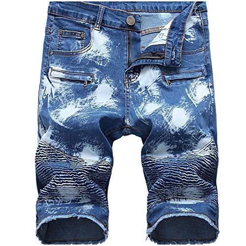 LERUCCI Mens Fashion Slim Ripped Denim Shorts with Pockets Snow Blue W28