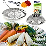 "Premium Vegetable Steamer Basket - 5.5-9.3"" - Kitchen Deluxe Complete Bundle - 100% Stainless Steel - Bonus 2 in 1 Julienne Veggie Peeler, Hook Insert & Food eBook - For Pressure Cooker"