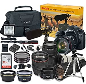 Canon EOS 6D 20.2 MP Full-Frame CMOS Digital SLR Camera Bundle w/ EF 24-105mm f/4 L IS USM + EF 75-300mm f/4-5.6 III Telephoto Zoom + EF 50mm f/1.8 STM + 650-1300mm Wildlife + Kodak MIC-711 Microphone
