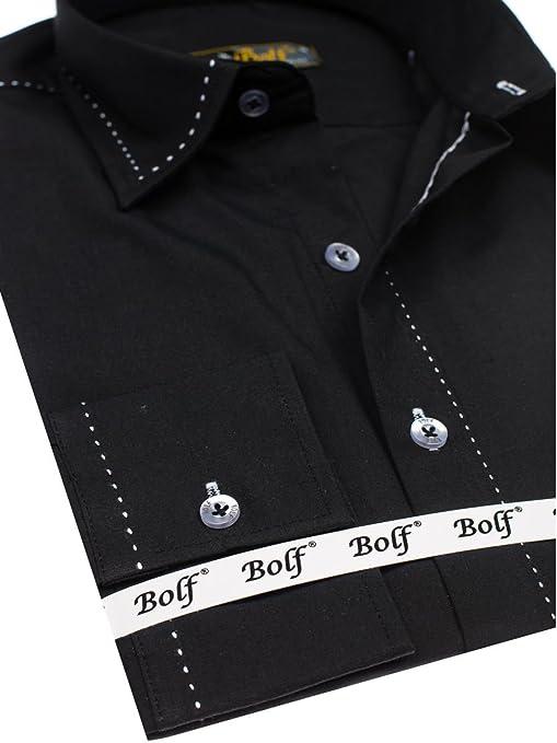 BOLF Hombre Camisa Elegante Abotonada 4719 Negro XL [2B2]: Amazon ...