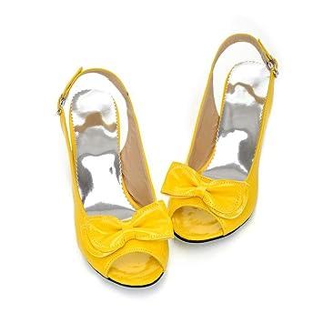 SHINIK Zapatos de mujer PU Primavera Verano Sandalias Tacón stiletto Tacón grueso Peep Toe Bowknot para