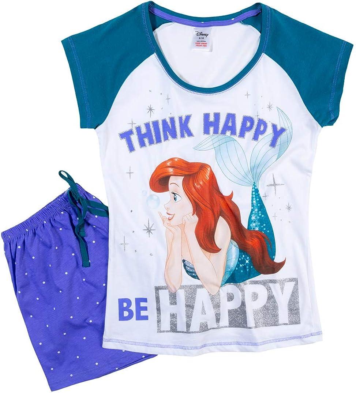 Womens Disney Little Mermaid Think Happy Be Happy Shortie Pyjamas