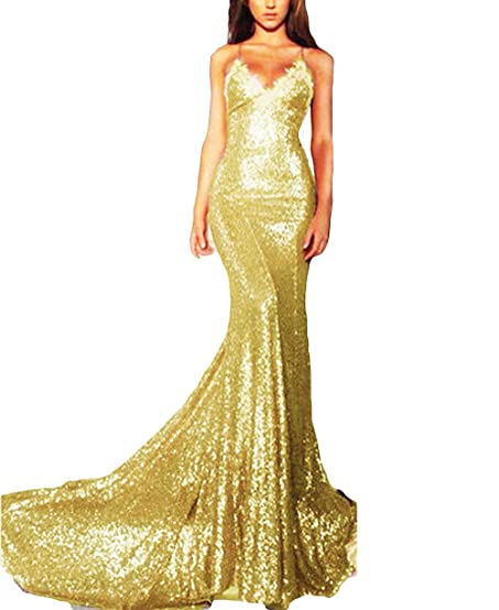 Veilove Beautiful Gold Lace Prom Dress Mermaid Sequin Military Ball Evening Party Dresses