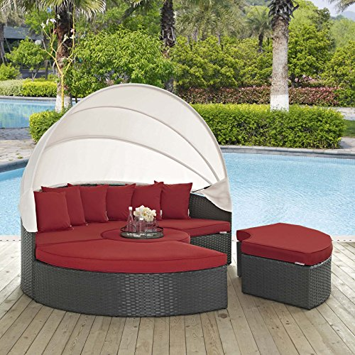 Lexington Daybed - Modway EEI-1986-CHC-RED Sojourn Outdoor Patio Sunbrella Daybed, Red