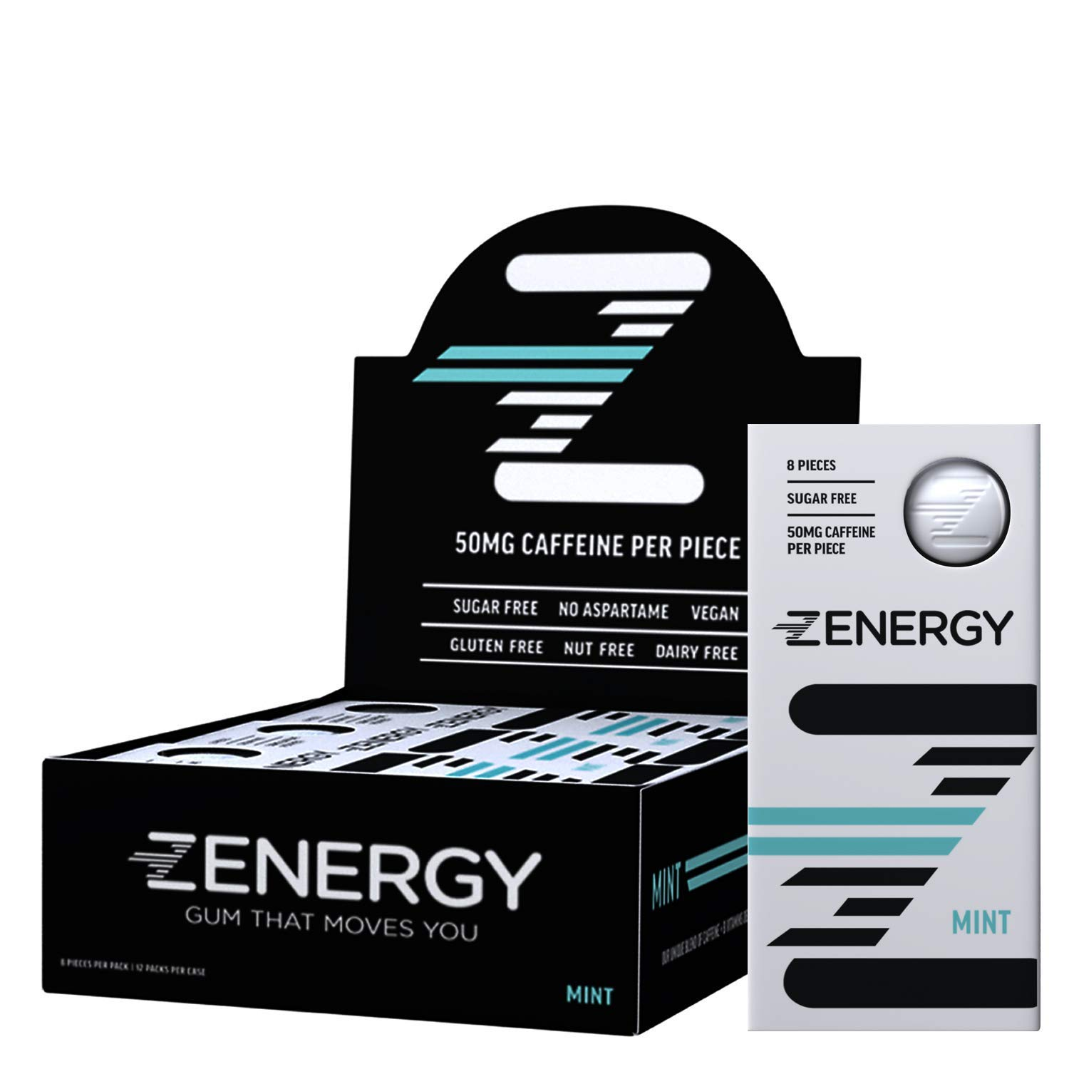 Zenergy 50mg Mint Flavor Caffeine Gum with Vitamins B6 + B12 - Natural Vegan Energy Booster, Sugar Free, Gluten Free, Aspartame Free Gum, 0 Calories (12 Pack) by The Do More Company