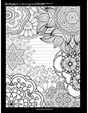Coloring Notebook (black): Therapeutic notebook for writing, journaling, and note-taking with designs for inner peace, calm, and focus (100 pages, college ruled)