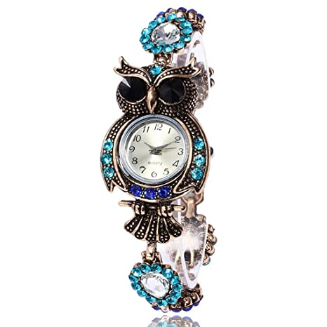 Reloj mujer, Webla 2017 Vintage Owl moda mujer cuarzo pulsera marca relojes regalo reloj de
