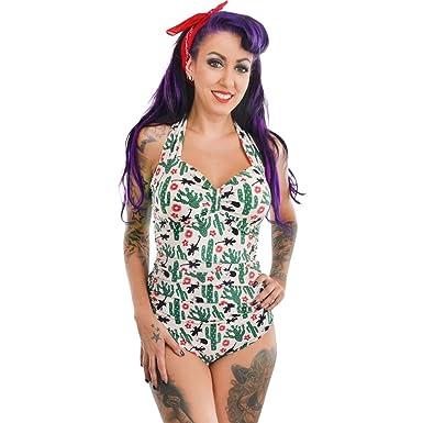 e0a07cba39 Too Fast Apparel Rita Retro Halter Swimsuit Western Desert Cactus Size XL