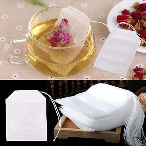 100 bolsas de té desechables vacías con filtro de té con ...