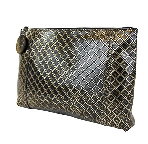 Clutch Bag Pouch Intrecciomirage Leather Black 301204 Gold Veneta 8414 Bottega Zwfq66