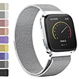 iGK For Fitbit Versa Bands, Stainless Steel Milanese Loop Metal Mesh Bracelet Sport Strap with Unique Magnet Lock Wristbands Replacement Band for Fitbit Versa