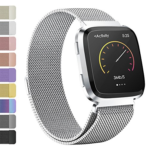 iGK Milanese Replacement Bands Compatible for Fitbit Versa, Stainless Steel Milanese Loop Metal Mesh Bracelet Unique Magnet Lock Wristbands Silver Small