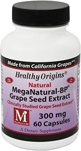 Healthy Origins 100 Natural MegaNatural-BP Grape Seed Extract Clinically Studied 60 Capsules