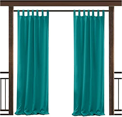 TWOPAGES Outdoor Waterproof Curtain Turquoise Tab Top Drape, 100 W x 96 L for Front Porch Pergola Cabana Covered Patio Gazebo Dock Beach Home 1 Panel
