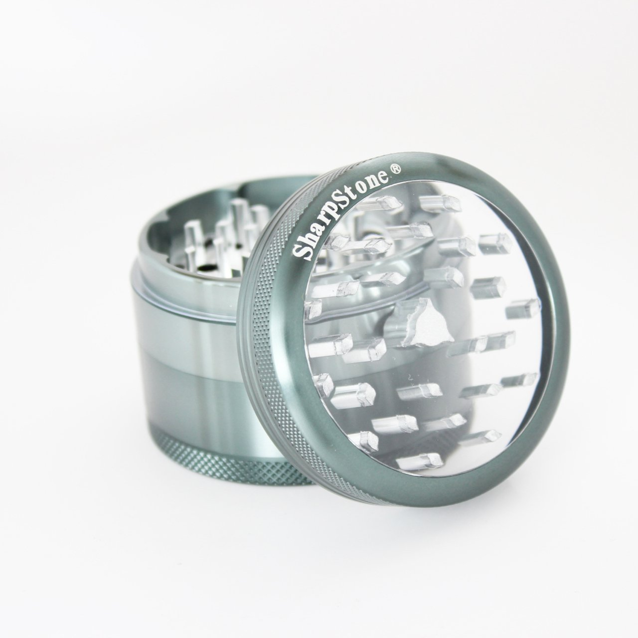 Sharp Stone Official Authentic Large 4 Piece Grinder Clear Top 2.5 Inches Grey + Free Performance Technology Wrist Band