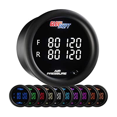"GlowShift 10 Color Digital 200 PSI Quad Air Pressure Gauge Kit - Includes Electronic Sensors - Multi-Color LED Display - Tinted Lens - for Air Ride Suspension - 2-1/16"" (52mm): Automotive"
