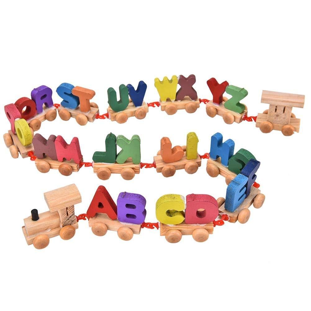 Ni/ños coloridos letras de madera tren conjunto de juguetes Educaci/ón de moda juguete letras de madera tren ensamblar conjunto de 1