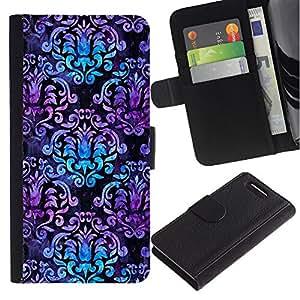 For Sony Xperia Z3 Compact Case , Teal Purple Wallpaper Pattern - la tarjeta de Crédito Slots PU Funda de cuero Monedero caso cubierta de piel
