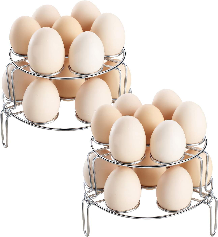 Suwimut 4 Pack Egg Steamer Rack, Multipurpose Stackable Egg Cooking Rack for Instant Pot, Pressure Cooker Accessories