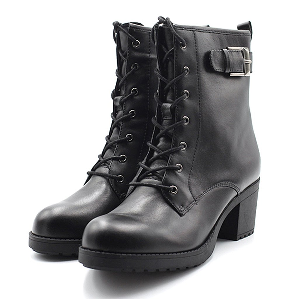 Woman's Martin boots cowhide handsome rough heel with straps boots ( Color : Black , Size : US:7UK:6EUR:39 ) by LI SHI XIANG SHOP (Image #2)
