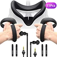 Accessories Bundle for Oculus Quest, Kit with Silicone Mask Pad Cover, Controller Knuckle Grip Strap, One-side Headphones and Cable Clip Organizer for Oculus Quest
