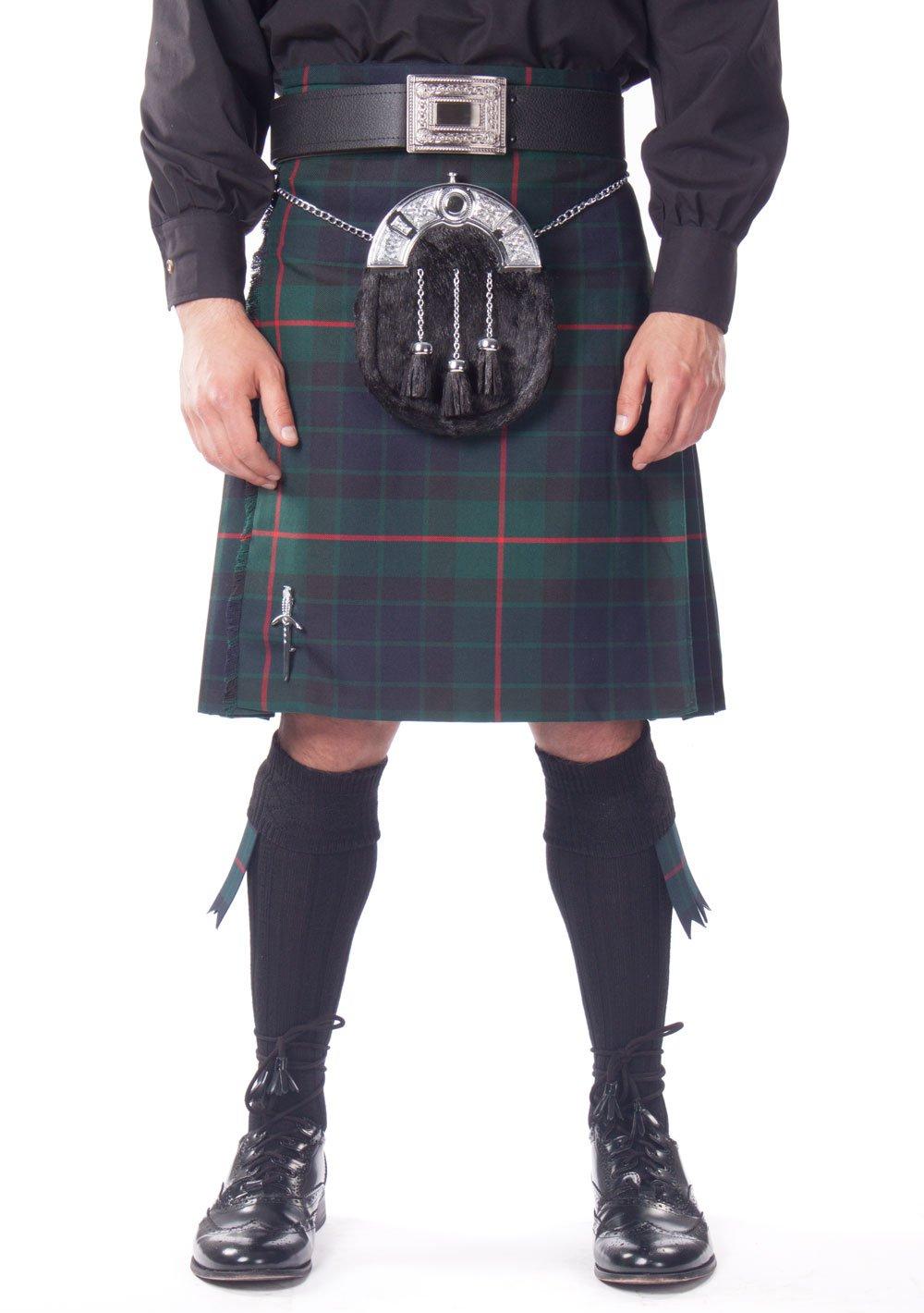 Kilt Society Mens 7 Piece Full Dress Kilt Outfit- Gunn Tartan with Black Hose 46'' to 50''