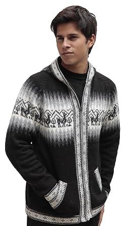 5bef2e385060 Mens Alpaca Wool Knitted Jacket Hooded Hood Sweater - Little Llamas Design  (M, Black