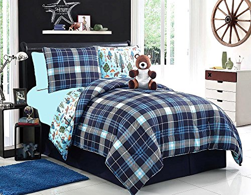 7pc REVERSIBLE Blue Plaid BOYS Bedding with Pine Trees & Bears TWIN Size Comforter Set & Sheets + One Plush BEAR Buddy (Twin Plaid Set Bear Comforter)