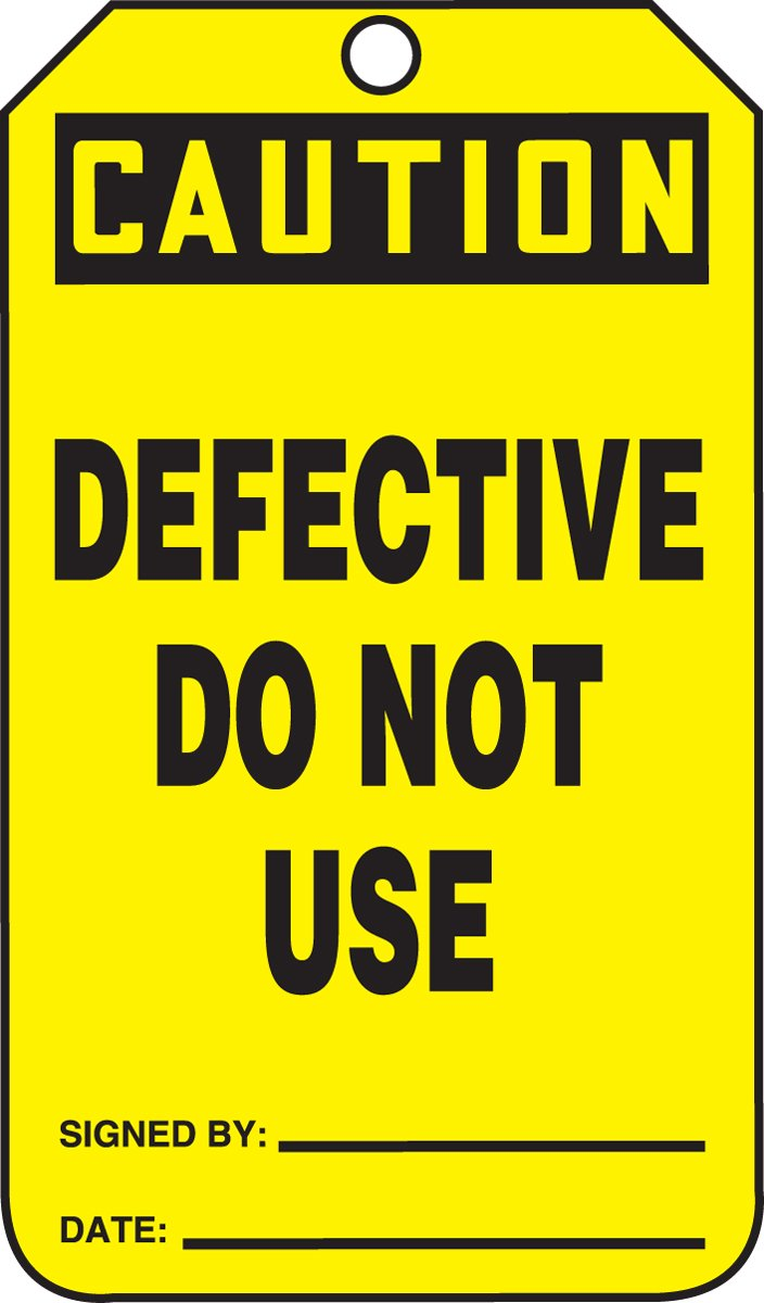 Accuform MDT614CTM PF-Cardstock SAFETY Tag, Legend ''Caution DEFECTIVE Do Not Use'', 5.75'' Length x 3.25'' Width x 0.010'' Thickness, Black on Yellow (Pack of 5)