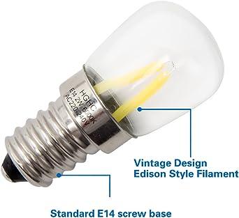 Bombilla maquina de coser, E14 Filamento LED 2W (Equivalente a 25W ...