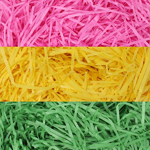 280g (10 oz.) Tricolors Easter Grass Bulk (Pink, Yellow and Green) Recyclable Paper Shred for Easter Basket Grass Filler/ Stuffers, Easter Theme Party Decoration and Easter Eggs Hunt by Joyin Toy