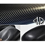 DIYAH 4D Black Carbon Fiber Vinyl Wrap Sticker with Air Realease Bubble Free anti-wrinkle (120