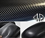 DIYAH 4D Black Carbon Fiber Vinyl Wrap Sticker with Air Realease Bubble Free Anti-Wrinkle 12' X 60' (1FT X 5FT)