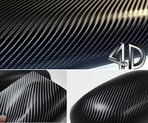DIYAH 4D Black Carbon Fiber Vinyl Wrap Sticker with Air Realease Bubble Free Anti-Wrinkle (120