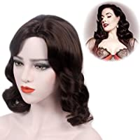 """STfantasy Finger Wave Wigs 1920s Retro Mid Length Long Curly Dark Brown Wig Synthetic Hair for Women Cosplay Party Costume Ripple Hairpiece 18"""""""