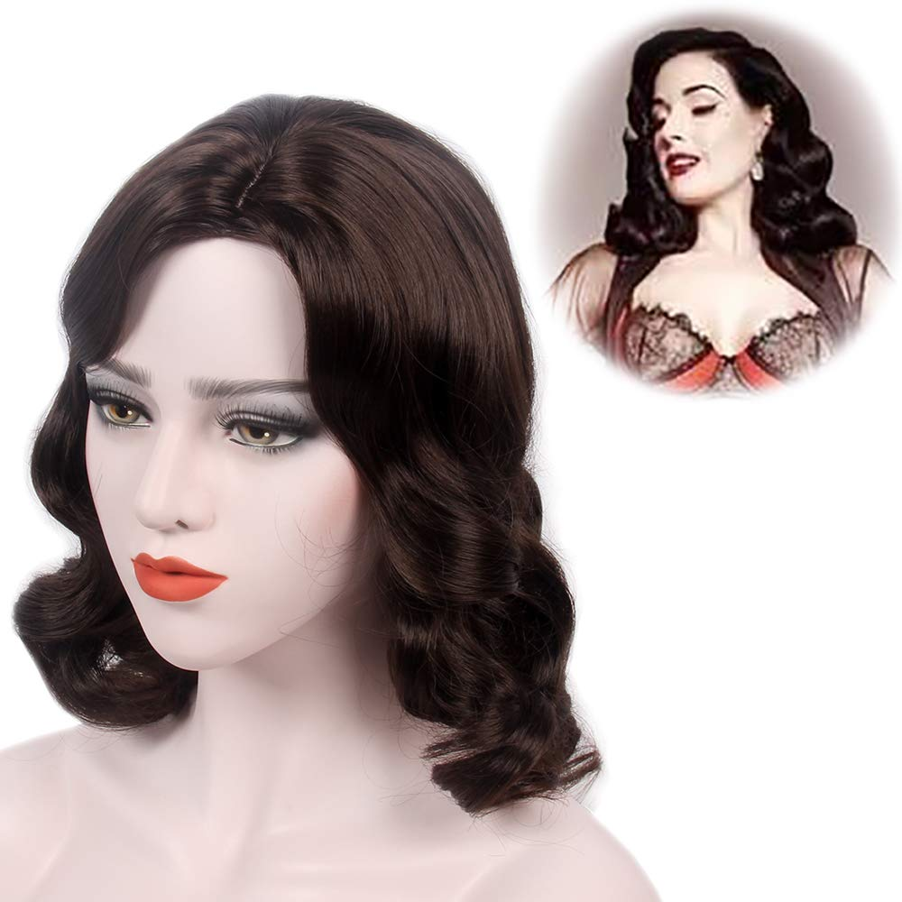 Stfantasy Finger Wave Wig 1920s Retro Mid Length Long Curly Brown Synthetic Hair For Women Cosplay Halloween Party Costume Crossdressing