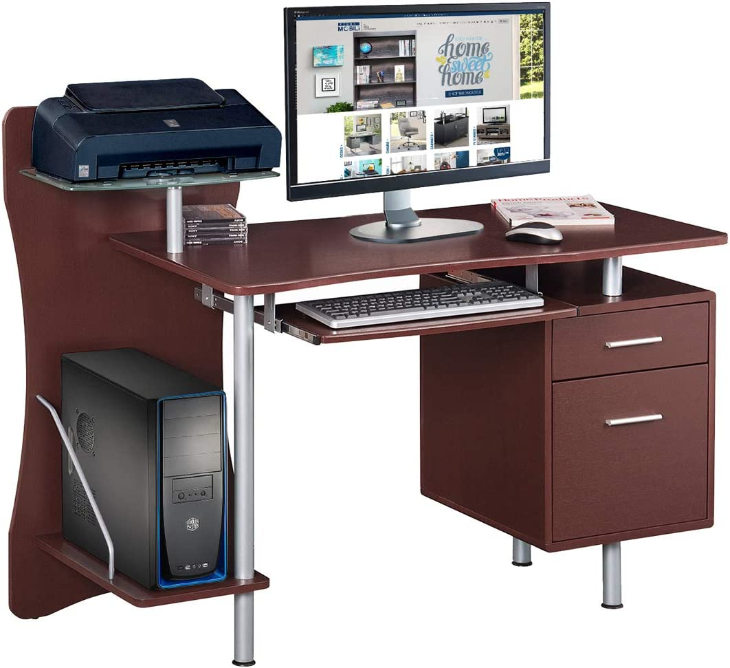 Techni Mobili Stylish Computer Desk with Storage, Chocolate, 39.5 x 44 x 51.25 ,